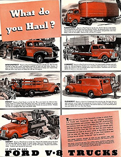 What do you haul? Ford pickup flat bed panel stake body dump truck ad 1940 P