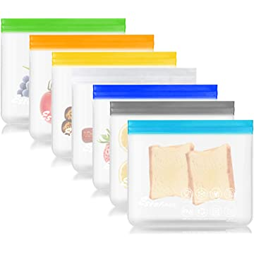 Estefanlo Reusable Storage Bags, 7 Pack Reusable Sandwich Lunch Snack Food Bags Extra Thick Reusable Ziplock Leakproof Freezer Bags BPA Free for Home travel Kitchen Organization (Multi Color)