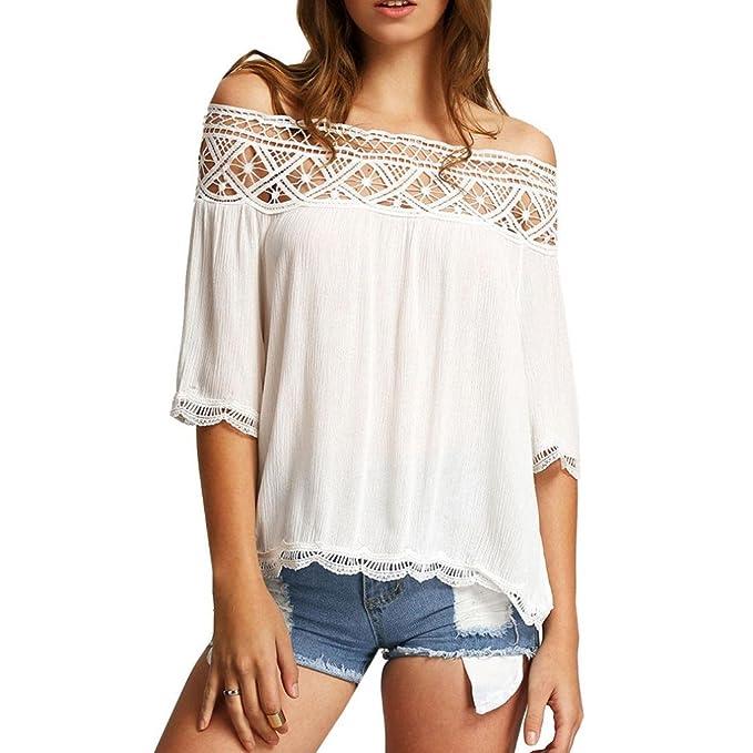 Bekleidung Longra Frauen Spitze Off Shoulder leger Kurzarm T Shirt Top Bluse (SMLXL)