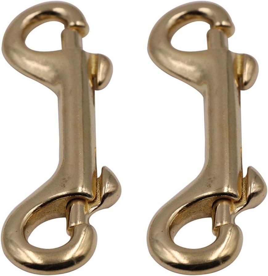 UKCOCO 2 Piezas Clips de gatillo de bronce de doble punta Gancho de presi/ón para el bolso Llavero Llave de equipaje de 90 mm
