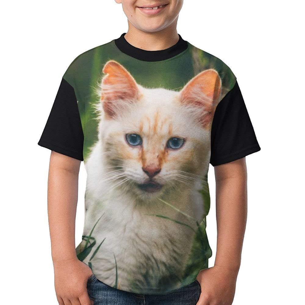 Cute Cat Summer Basic Tees-Youth Short Sleeve Tee Short T Shirts