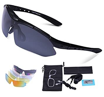 e812acaf6b2 Carfia TR90 Polarized Sports Sunglasses Outdoor Cycling Glasses Ski Goggles  with 5 Exchangeable Lens for Mens