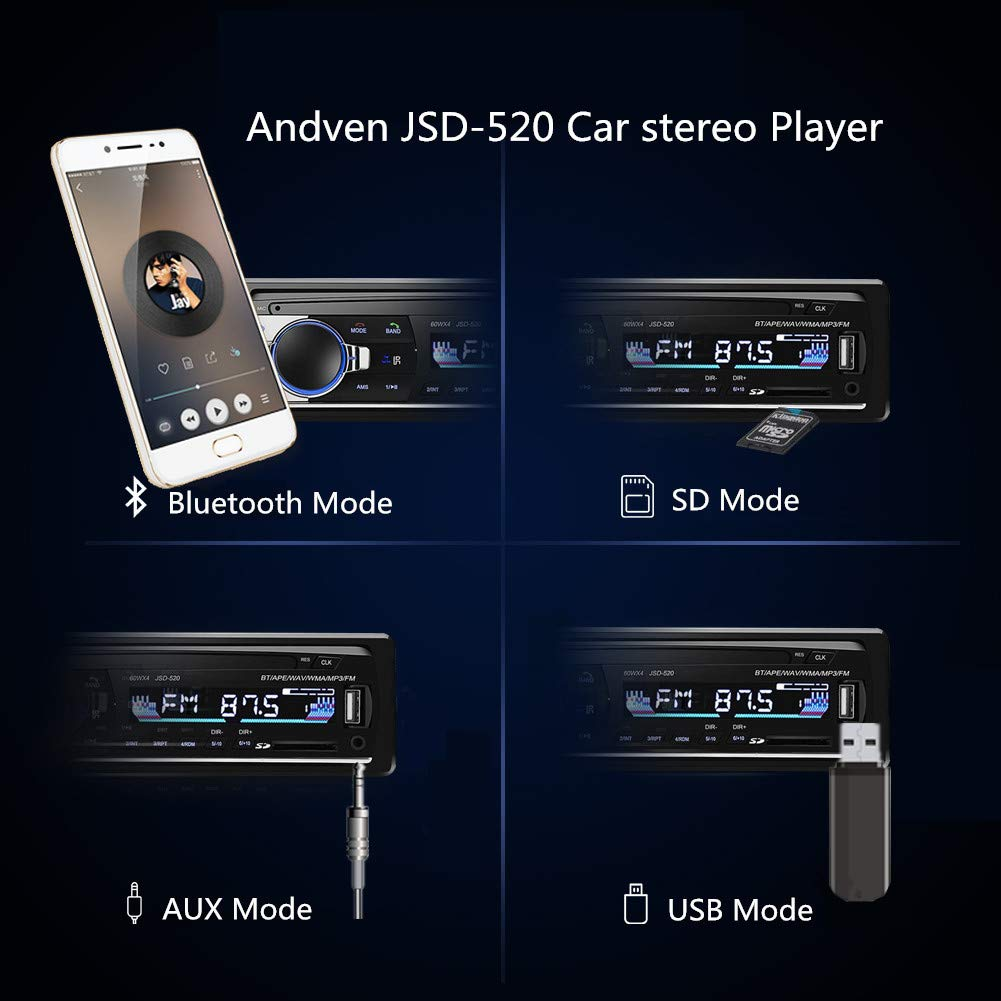 Andven Autoradio mit Bluetooth Freisprecheinrichtung Digital Media-Receiver USB// SD// AUX// MP3-Player Receiver mit Fernbedienung 4X60W Auto Radio 1 Din