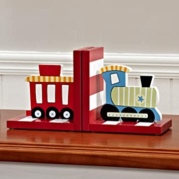 Blue Solid Wood Chow Chow Train Bookend Kids Train Themed Chow Chow Train bookends for Boys Nursery or Bedroom Little Boy Gift Idea