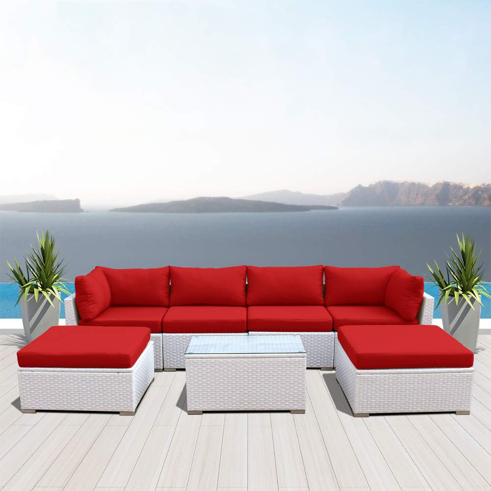 Amazon com dineli outdoor sectional sofa patio furniture white wicker conversation rattan sofa set c7red garden outdoor