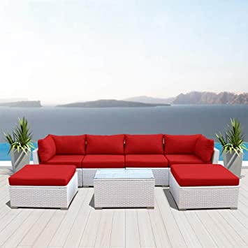 Amazon Com Dineli Outdoor Sectional Sofa Patio Furniture White