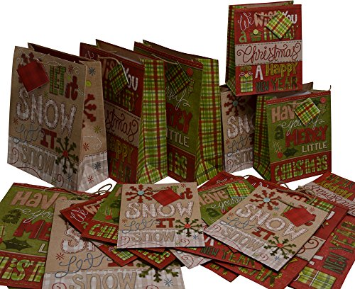 Christmas medium and large Gift Bags, Quilted & Stitched design, bulk value pack set of 24 (Burlap In Bulk)