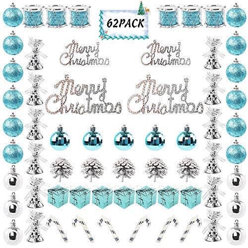FUNARTY 62ct Christmas Ball Ornaments Assorted Shatterproof Christmas Tree Balls Decorations with Hand-held Gift Package for Xmas Tree Holiday Wedding Party (Blue and Silver) (Ornaments Shatterproof Tree Christmas)