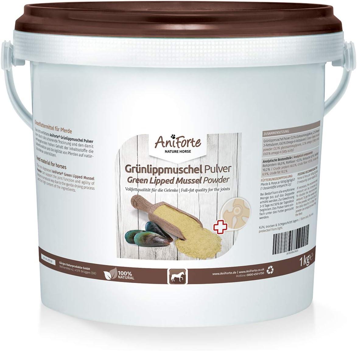 AniForte Verde lipp Conchas de Polvo 1kg de Producto Natural para Caballos