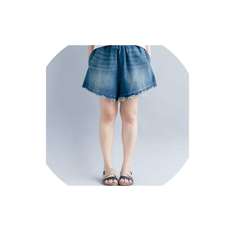 bluee Denim Shorts Wide Leg Shorts Plus Size Loose Jeans Elastic Waist Female Casual Shorts