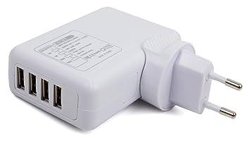 12f477003c5 DURAGADGET Cargador De Viaje Blanco para Smartwatch Michael Kors Access -  con 4 Puertos USB Y