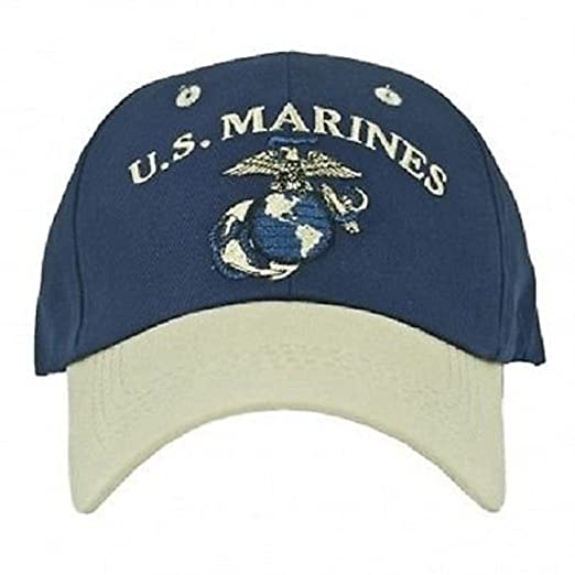 3e6eb27d Image Unavailable. Image not available for. Color: USMC Marine Marines Navy  Blue and Stone Khaki EGA Ball Cap ...