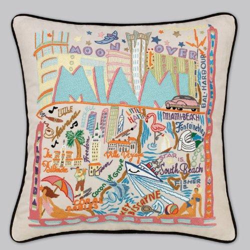 Catstudio Miami Pillow - Original Geography Home Décor 123(CS) by Catstudio Embroidered Pillow
