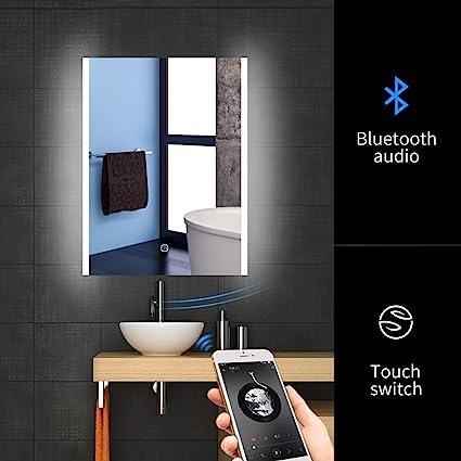 Amazon Com 24 X 32 Inch Led Bluetooth Bathroom Mirror Wall Mounted
