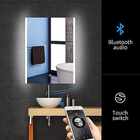 Amazon Com 24 X 32 Led Bluetooth Bathroom Mirror Wall Mounted
