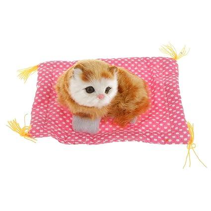 Juguete de Peluche Ornamento Paño Muñeca del Gato Casa Blanca Almohadilla Niños Mew Realistas - Amarillo