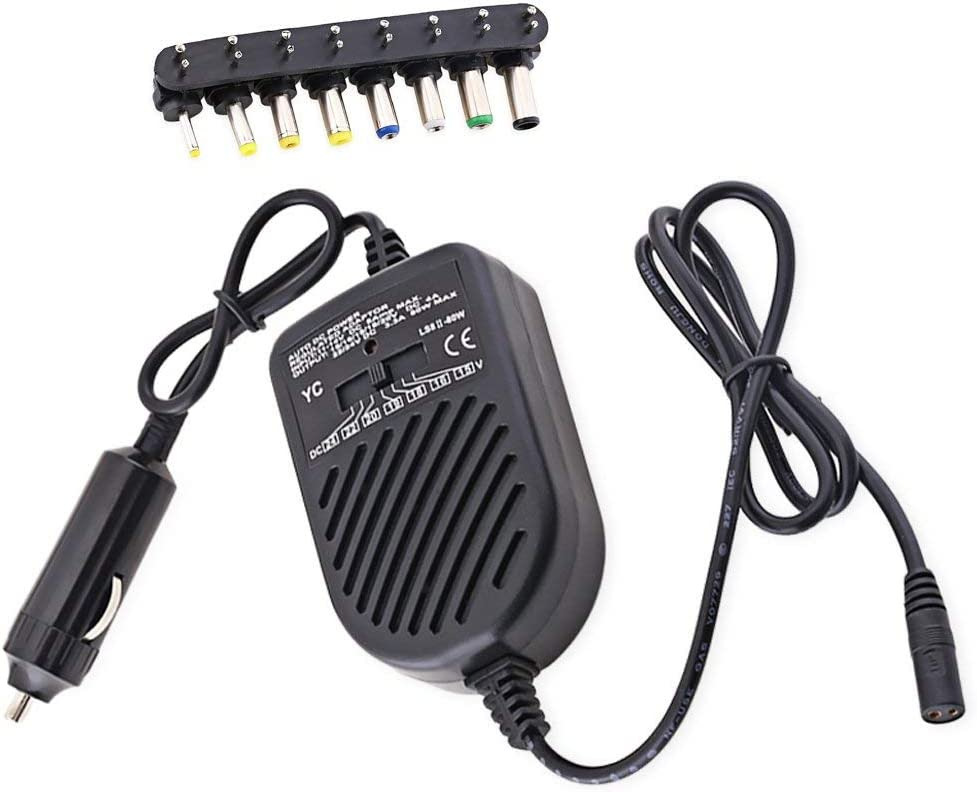 JX2 Universal 80W DC USB Port LED Auto Car Charger Adjustable Power Supply Adapter Set 8 Detachable Plugs for Laptop Notebook