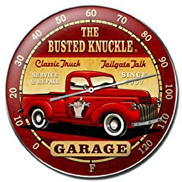 Busted Knuckle Garage BUST071 Round Old Truck Wall Thermometer