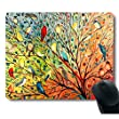 Gorgeous Illustration Painting 16 Birds Stand on The Tree Mouse Pad
