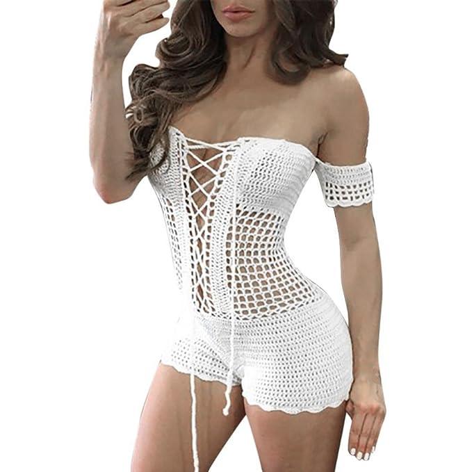 Amazon.com  RAISINGTOP Women Sexy Crochet Beach Fishnet Sarong Handmade  Bodycon Knitting Jumpsuit Off Shoulder Bikini Romper New  Clothing 40607310e