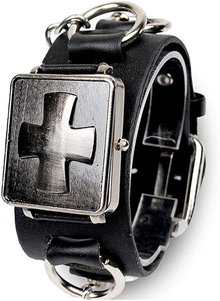 3 Layers Leather Bracelet Punk Wide Cuff Bracelet Wrist Strap Wristband HS