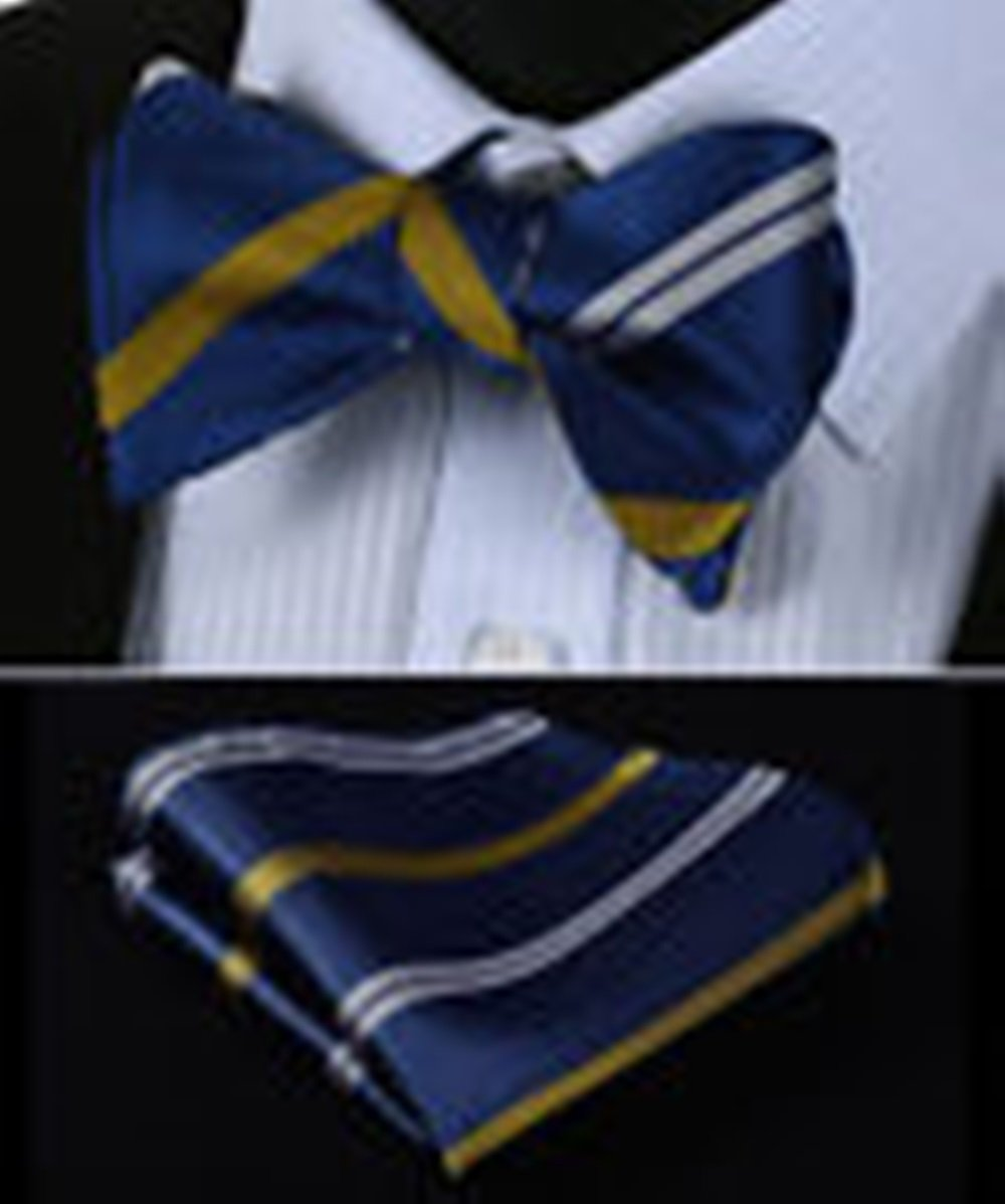 Mondaily DL703V Navy DLue Yellow Stripe Men Silk Classic Self Bow Tie Pocket Square set #PPTE4578