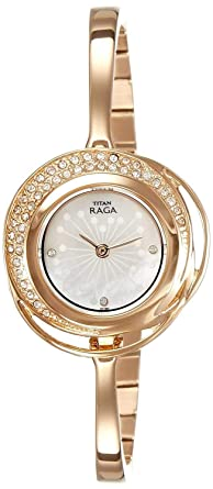 Amazoncom Titan Raga Swarovski Crystal Mother of Pearl Dial Gold