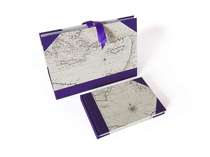 Libreta papel grueso. Archivador para papeles. Conjunto mapa mediterráneo. Regalo de cumpleaños.