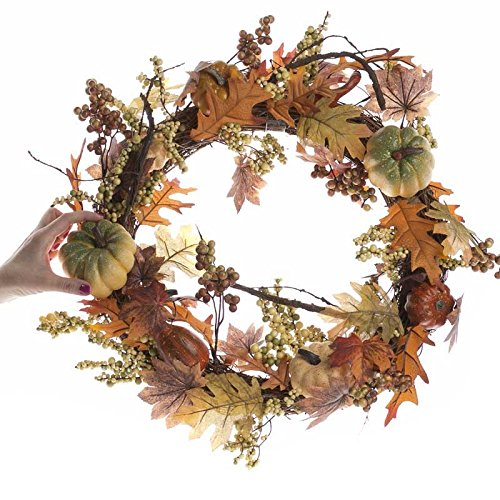 Factory Direct Craft Artificial Twig Wreath with Maple and Oak Leaves, Gourds and Berry Clusters Throughout for Holiday and Home Decor