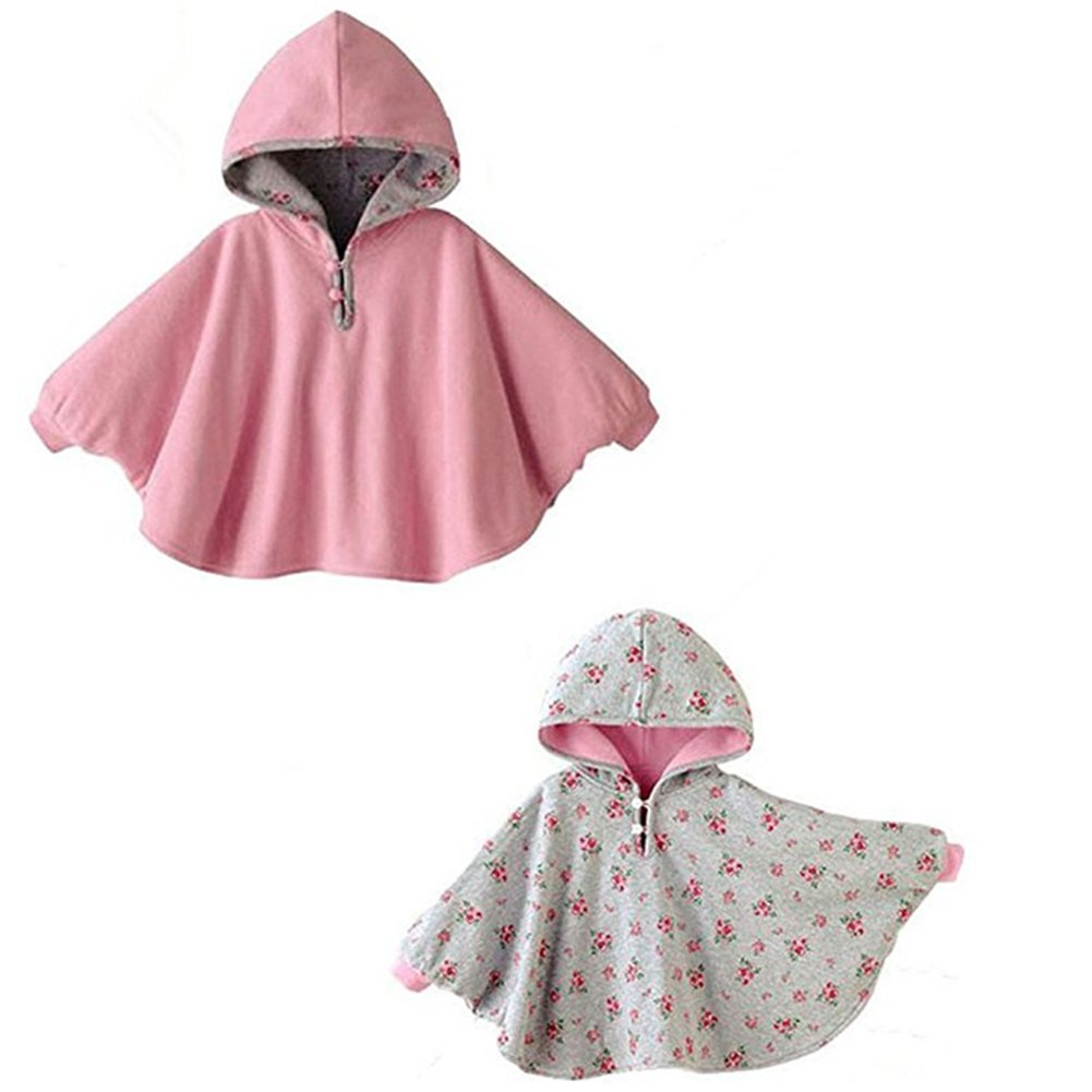 Azhido Baby Cotton Double-Side Wear Hoodie Cape Printed Outer Wear Coat for 1-3 Year Girls (Pink, 1-3T) by Azhido