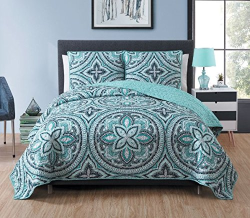 2 Piece Girls Medallion Quilt Twin Set