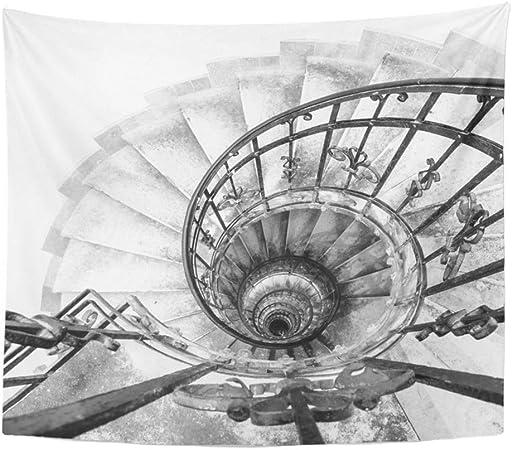 Tapicería Tela de poliéster Estampado Decoración para el hogar Vista al revés de la escalera de caracol espiral interior Pasamanos ornamentales de metal negro Tapicería colgante para la sala de estar: Amazon.es: