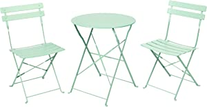 Patio Bistro Set, Outdoor Patio Furniture Sets,3 Piece Patio Set of Foldable Bistro Chairs and Table,Mint Green