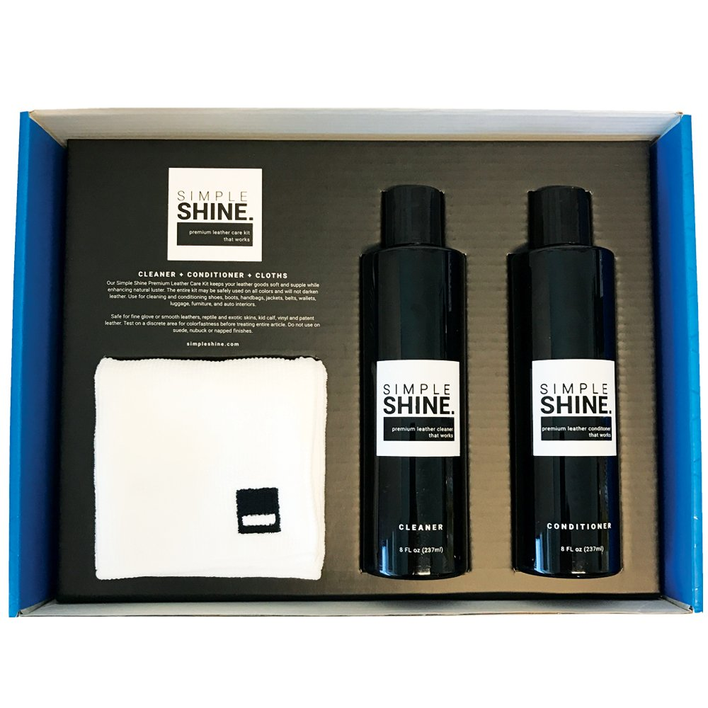 Premium Leather Shoe Cleaner and Conditioner Cleaning Kit | Cloths for Restore, Protect and Care by Simple Shine (Image #2)