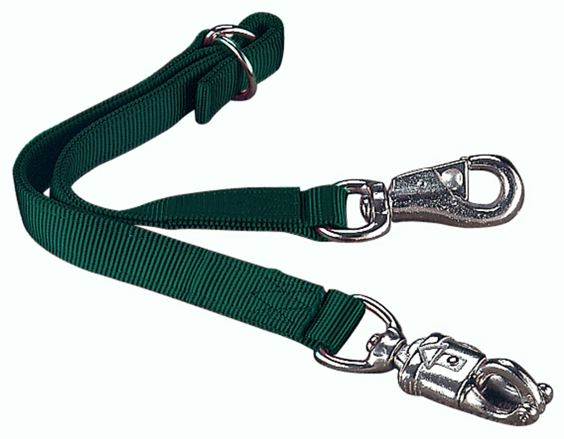 Hamilton Adjustable Double Thick Trailer Tie with Panic Snap and Bull Snap for Horse, 1  x 30 , Dark Green