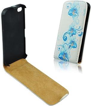 Funda con tapa para Samsung Galaxy S4 i9500 i9502 i9506, diseño de flores, color azul: Amazon.es: Electrónica