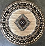 South West Native American Round Area Rug Berber Design D143 (6 Feet 7 Inch X6 Feet 7 Inch Round)