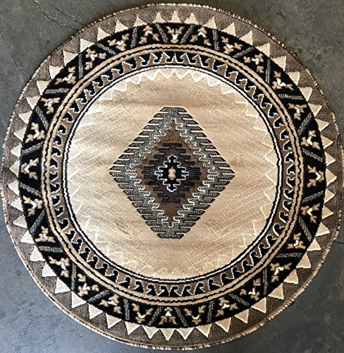 South West Native American Round Area Rug Berber Design D143 (6 Feet 7 Inch X6 Feet 7 Inch Round) by Kingdom