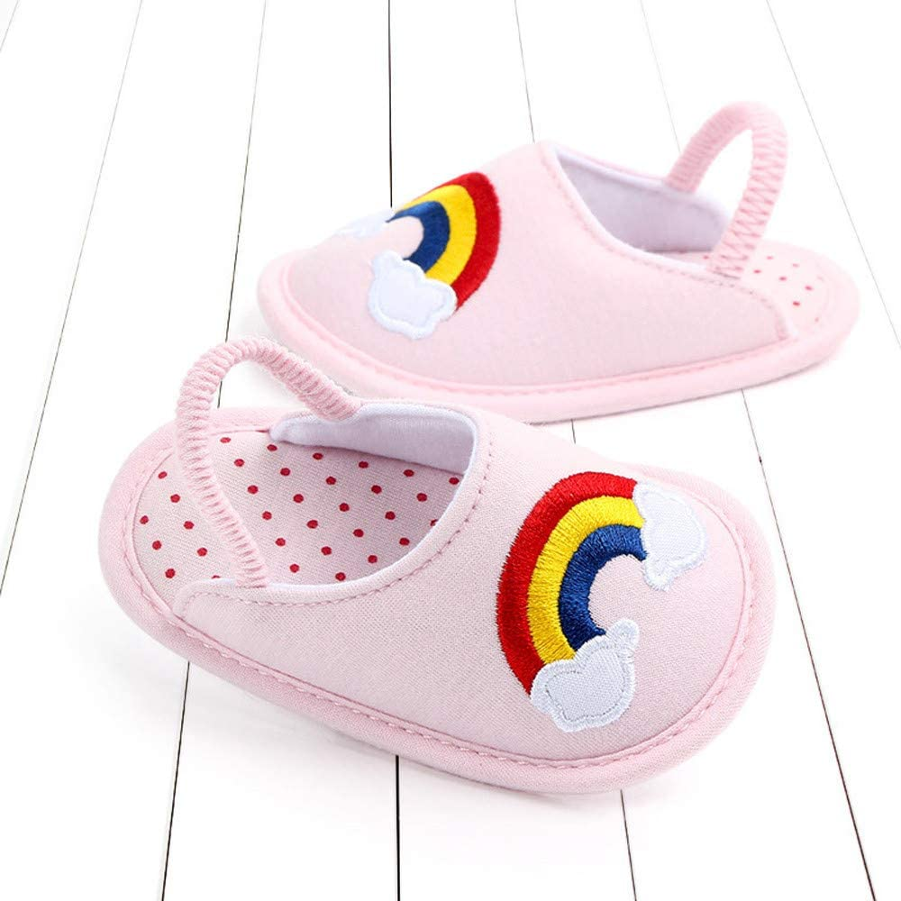 WOZOW Baby Boys Girls Animal Rainbow Small Yellow Duck Cartoon Decoration First Walker Cotton Warm Slippers Toddler Shoes Floor Shoes