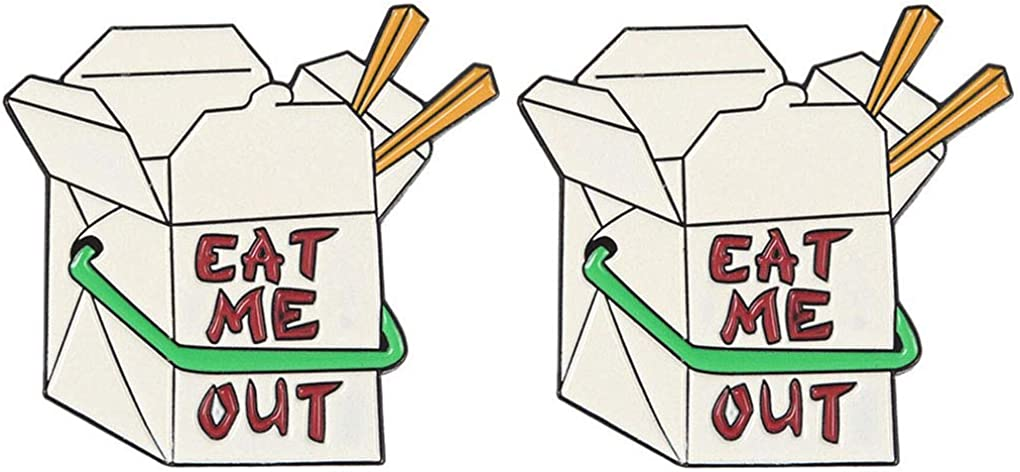 Charmart Eat Me Out Lapel Pin 2 Piece Set Food Box Enamel Brooch Pins Jacket Denim Shirt Bag Backpack Collar Badge Gifts