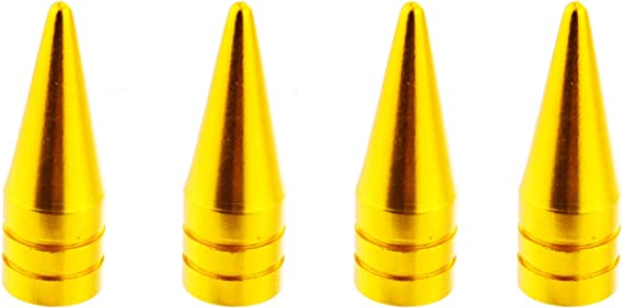 4PCs Yellow Lunsom Valve Stem Caps Car Wheels Valves Hole Cover Accessories Fit Most Vehicle Motorcycle