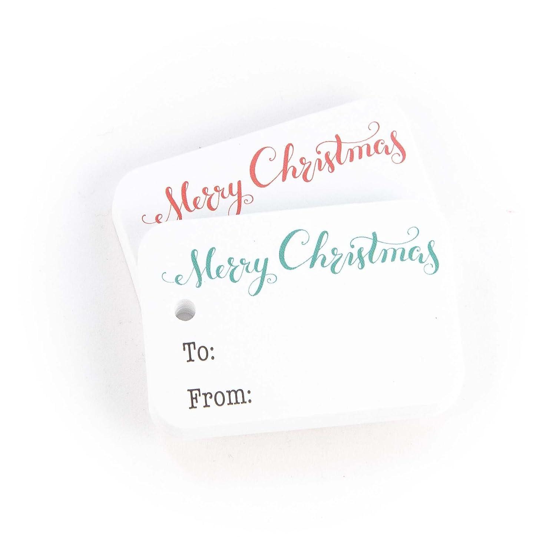 36 Christmas Gift Tags, White Merry Christmas Gift Wrap Tags (RR-111-WT)