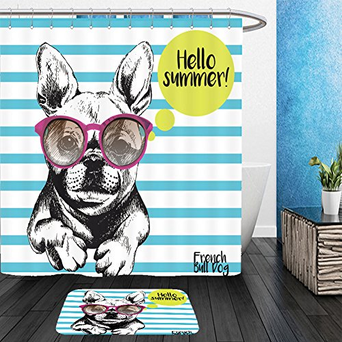 Vanfan Bathroom 2 Suits 1 Shower Curtains &  1 Floor Mats vector close up portrait of french bulldog wearing the sunglasses bright hello summer french 417524263 From Bath room