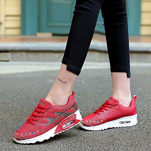 Jd8010hongse38 Enllerviid Kvinnor Mesh Luft Max Sport Löparskor Mode Walking Gymnastikskor Röd 6,5 B (m) Oss