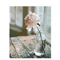 shiliqiang pittura ad olio fai da te digitale pittura fai da te con numeri un fiore rosa semplice 40* 50cm