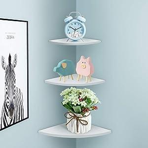 Floating Corner Shelf, 3Pcs Wall-Mounted Storage Display Rack Bookshelves Shelving Table for Home Corner Holder Furniture Office Decor Bearing Load up 5KG