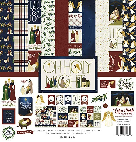 Echo Park Paper Company OHN161016 Oh Holy Night Collection Kit Paper Red/Green/Tan/Gold/Navy