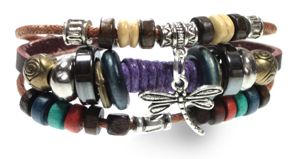 Dragonfly Bohemian Style Genuine Leather Handcrafted Beaded Bracelet in Gift Box