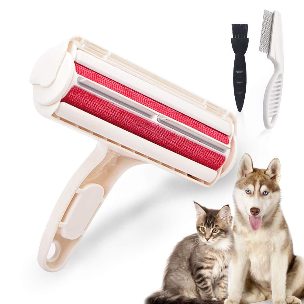 SZELAM Pet Hair Remover Dog & Cat Hair Remover Double-Side Fur Remover Brush with Self-Cleaning Base Lifetime Reusable Lint Brush for Furniture, Clothes, Carpets, Bedding, Couch and More