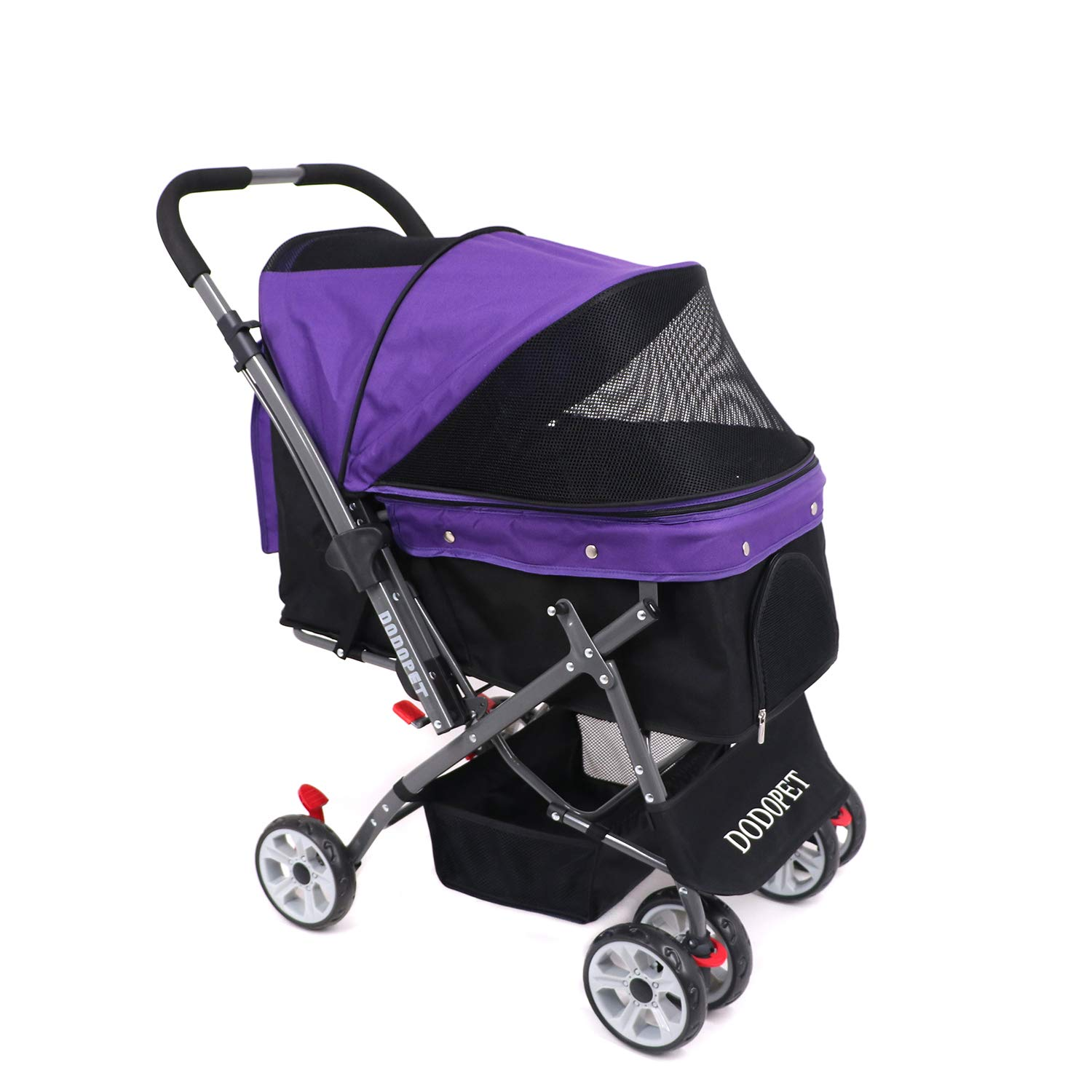 DODOPET - Dog/Cat/Pet Stroller, 4 Wheel Dog Cage Stroller, Reversible Handle Bar, Pet Travel Folding Carrier, Strolling Cart, Strong and Stable, for Medium Pets Up to 50 lbs, Two Color(Purple)